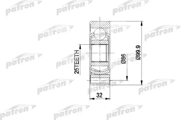 ШРУС наружный/внутренний задний Patron PCV1005